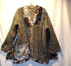 Recycled sweater tunic Hand painted by LeelaCouture on Etsy, $189.00