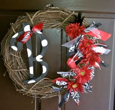 Red/Black Initial Wreath...Turned out really cute for USC!