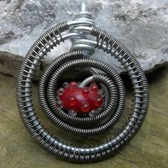 Lampwork Bead and Wire Wrapped Pendant/Necklace by alexart on Etsy, $25.00