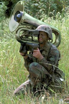 Tuba missile-maybe he kills them with sweet, sweet tuba music? Eh?