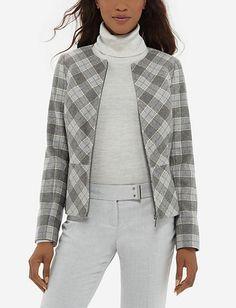 Plaid Jacket - Shop for women's Jacket Crop Top Shirts, Crop Tops, Plaid Pencil Skirt, Business Attire, Business Class, Plaid Jacket, Wardrobes, Cropped Pants, Beauty