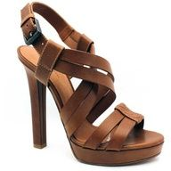 Bottega Veneta 307943 Brown Leather Strappy Platform Sandal ($790)  liked on Polyvore