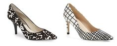 "FALL TRENDS 2014 Black and white patterned shoes (notice there is no platform ... ) are a great way to kick up an outfits potential. On left, 3"" heel, $119 MICHAEL Michael Kors. On right, 3 1/4"" heel ,"