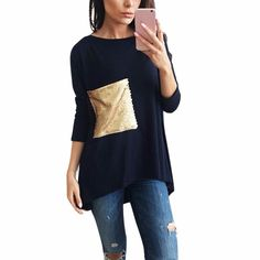 Fashion Women Blouse Loose Sequins Splicing Ladies Casual Tops Shirt Feminino Winter bBlusas Camisolas Free Shipping  #style #model #styles #cute #beauty #stylish #jennifiers #jewelry #outfit #purse #outfitoftheday #hair #beautiful #makeup #fashion