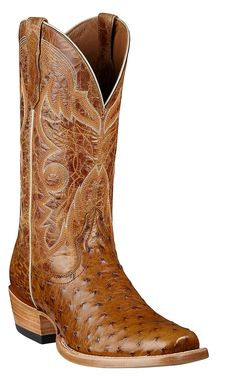 Ariat® Hotwire™ Men's Antique Saddle Full Quill Ostrich Dual Pro Exotic Square Toe Cowboy Boots