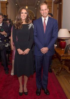 Prince William and Catherine, Duchess of Cambridge, aka Kate Middleton, attending a reception at Government House, where a new portrait of Her Majesty by New Zealand artist Nick Cuthell was unveiled. Kate wore a bespoke cocktail dress by Jenny Packham, and her Jimmy Choo Cosmic heels. 4/10/14
