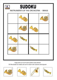 INSTRUMENTS OF THE ORCHESTRA SUDOKU  -  BRASS Preschool Education, Music Education, Teaching Music, Teaching Resources, Instruments Of The Orchestra, Brass Music, Early Music, Music Worksheets, Elementary Music