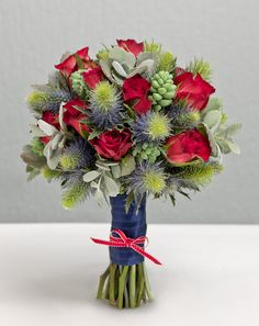Bridal bouquet red and blue