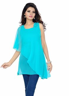 3e10dd3384c98 ISHIN Georgette Western Blue Tops  Amazon.in  Clothing   Accessories  Western Kurtis