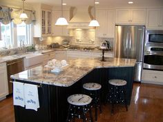 kitchen island shape ideas kitchen island shapes kitchen island shapes fascinating kitchen island shapes tittle kitchen island shapes ideas kitchen l shaped kitchen island ideas Kitchen Redo, New Kitchen, Kitchen Dining, Kitchen Ideas, Kitchen Cabinets, Kitchen Hacks, Kitchen Designs, Cream Cabinets, Kitchen Small
