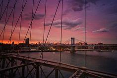 (C) Vivienne Gucwa Sunset while standing on the Brooklyn Bridge - New York City...