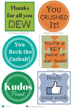 Free Printable Tokens to print for employee encouragement recognition engagement office humor Thanks, Like it, team, Kudos Employee Rewards, Incentives For Employees, Employee Appreciation Gifts, Employee Gifts, Volunteer Appreciation, Employee Morale, Staff Morale, Appreciation Cards, Reward And Recognition