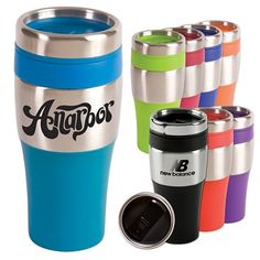 Tumbler Mug Party Favor - 16 oz. insulated tumbler with stainless steel exterior and BPA-Free plastic interior. Features matching color non skid bottom, PVC grip and a spill proof thumb slide plastic lid. Fits most automobile cup holders. 3 Diameter x H Coffee Tumbler, Coffee Mugs, Coffee Shops, Custom Travel Mugs, Trade Show Giveaways, Wall Insulation, Insulated Tumblers, Custom Tumblers, Personalized Tumblers