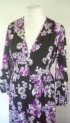 Vintage maxi dress 70s floral black purple white maxi dress v