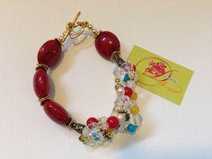 photo (56) pulsera de piedras rojas y piedritas en colores.