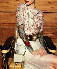 Oh my my I had to do a double take... Possibly the most exquisite, fashionable, and feminine sleeve tattoos ❤️