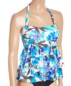 White & Blue Tiered Eden Springs Tankini Top #zulily #zulilyfinds