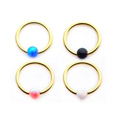 6.5mm 10mm 2 GA Colored IP Coated PVD Spike Top Horseshoe Circular Barbell - Ball Size: 3//8