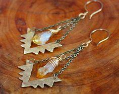 Brass Yantra Citrine earrings / sacred geometry sacral chakra manifestation raw crystal handmade jewelry / orange new age metaphysical
