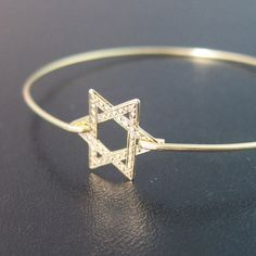 Star of David Bracelet Star of David Bangle by FrostedWillow