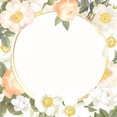 Hand drawn round frame on flower background vector | premium image by rawpixel.com / manotang