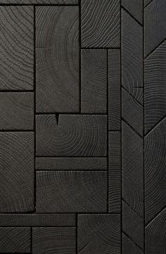 End Grain Wood Blocks bois debout composed as easytoinstall boards resulting in a contemporary endgrain marquetry Design by Raphael Navot and edited by Oscar Ono Paris. Current Picture, Charred Wood, Wall And Floor Tiles, Art Mural, Marquetry, Wood Blocks, Glass Blocks, Black Art, Black Wood