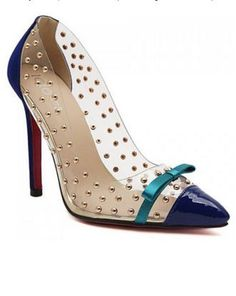 Heels I LOVE! Great Colors! Unique and Sexy Transparent Design Teal and Sapphire Pumps with Rivets #Unique #Sexy #Transparent High #Heels #Red #Soles #Fashion #Footwear