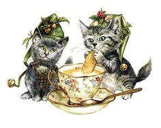 """«Catiminis», par Severine Pineaux, 2011. -- """"Minuscules créatures magiques, les Catiminis habitent secrètement les recoins cachés de nos maisons. Si l'on n'oublie pas de laisser pour eux lait chaud, crème et tendres gâteaux,  ils rendront une foule de petits services.""""."""