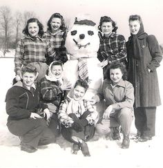 +~+~ Vintage Photograph ~+~+   Girls and their Snowman