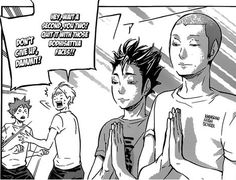 "Nishinoya & Tanaka in ""Bodhisattva mode"" for school exams. From the manga Haikyuu! by Haruichi Furudate. Manga Haikyuu, Haikyuu Nishinoya, Haikyuu Funny, Manga Art, Anime Manga, Manhwa, Photowall Ideas, Manga Covers, Animes Wallpapers"