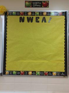 Data bulletin board in progress ---NWEA data tracking. What to do?! #science #middleschooldecor #chicteacher