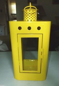 MEDIUM CANARY YELLOW METAL & GLASS OUTDOOR DECORATIVE LANTERN  #Unbranded