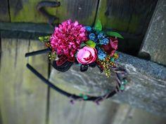 "headband ""colors of autumn - dahlia in blueberries von Magaela auf DaWanda.com"