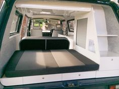 Contemporary VW interior, bespoke design by Dubteriors Campervan Bed, Kombi Camper, Campervan Interior, Camper Van, Vw Syncro, Astro Van, Bed Platform, Van Home, Vw T