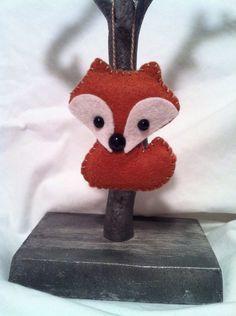 handmade felt mini fox ornament - oak wood by feltloved on Etsy https://www.etsy.com/listing/170489440/handmade-felt-mini-fox-ornament-oak-wood