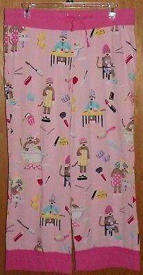 Nick and Nora Pajama Lounge Pants Sock Monkey Spa Day Lipstick Perfume Size XXL
