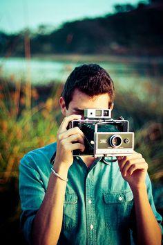 Portrait Polaroid film camera