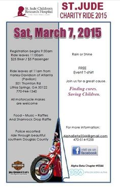 Lithia Springs, GA - March 7, 2015: St. Jude Charity motorcycle Ride benefits St. Jude Children's Research Hospital.