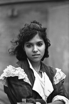 Annabella Lwin by Michael Grecco, 1981  in a Vivienne Westwood / Malcolm Mclaren brown madras Pirate collection jacket, c.1981