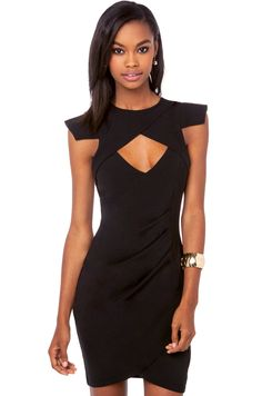 Rise of Dawn Bust Cut Out Dress in Black