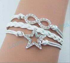 Diamond infinity bracelet Shining Rhinestone star bracelet white leather white rope Bridesmaids bracelets Wedding jewelry choose your color by LovelyGiftidea, $4.99