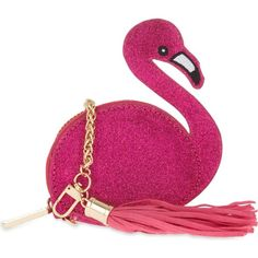 SKINNY DIP Flamingo coin purse (22 CAD) ❤ liked on Polyvore featuring bags, wallets, clutches, pink, purses, coin purse wallets, zip around coin purse, change purse, chain coin pouch and zip-around wallet