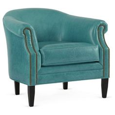 Check out this item at One Kings Lane! Hyde Leather Barrel Chair, Turquoise