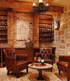 Gorgeous #wine room!! #PopBottles #Stone #GetThisLook