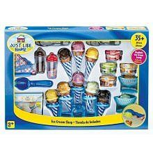 Just Like Home Ice Cream Shop Playset by Toys R Us. $32.43. Kids will have tons of fun creating their favorite dessert - ice cream sundaes! This Ice Cream Play Food Set contains everything your child needs to create yummy pretend treats including 3 different scoop flavors: strawberry, vanilla and chocolate. Dishes, toppings, cones, a scoop, spoons, napkins with a napkin holder and sprinkles are also included.Toys'R'Us exclusive Just Like Home pretend play kitchens, grocery an...