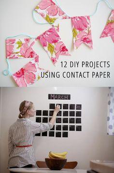 12 Fun DIY Projects Using Contact Paper Love the chalkboard calendar idea Summer Crafts, Fun Crafts, Arts And Crafts, Diy Projects To Try, Craft Projects, Dc Fix, Chalkboard Calendar, Chalkboard Paper, Sticky Back Plastic