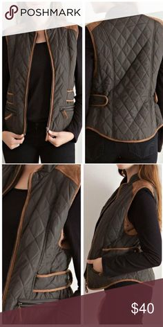 Olive Quilted Puffer & Suede Vest Amazing diamond patterned puffer vest with two toned colors with contrasting suede trim. Features snap adjustments, front zipped pockets, and front zippered closure. Colors are olive and camel tan. 100% polyester. Large = size 10/12. Sorry sold out of medium & small! OE0807E7D0 Jackets & Coats Puffers