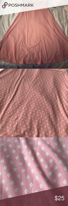 Lularoe Azure Skirt XS Pastel Pink with yellow diamonds azure skirt. Never worn and super cute! 💕 96% spun polyester 4% spandex LuLaRoe Skirts Midi