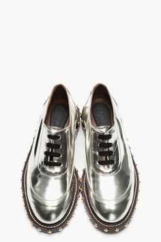 MARNI Metallic Silver Leather Studded Shoes