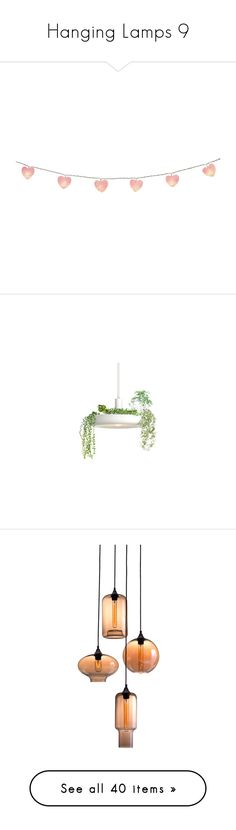 """Hanging Lamps 9"" by mysfytdesigns ❤ liked on Polyvore featuring home, home decor, filler, objects, backgrounds, decor, pink home accessories, heart home decor, pink home decor and lighting"